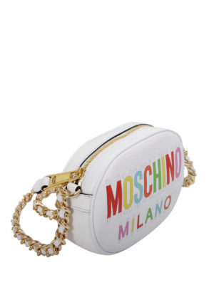 Moschino: cross body bags online - Coloured logo print leather bag