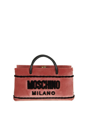 MOSCHINO: borse a tracolla - Borsa a mano signature in velluto rosa