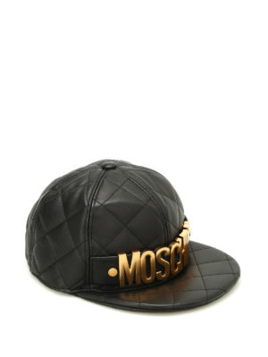 Moschino: hats & caps - Gold logo quilted leather hat