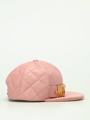 Moschino: hats & caps online - Pink quilted leather hat with logo