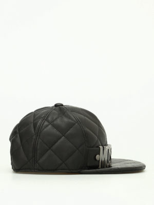 Moschino: hats & caps online - Silver logo quilted leather hat