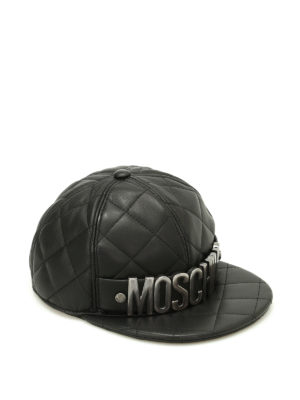 Moschino: hats & caps - Silver logo quilted leather hat