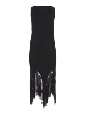 Moschino: knee length dresses - Fringed ribbed dress