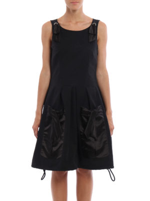 Moschino: knee length dresses online - Flared dress with satin pockets