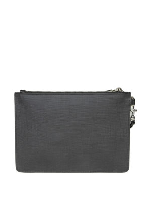 MOSCHINO: pochette online - Clutch in simil pelle nera con stampa Teddy