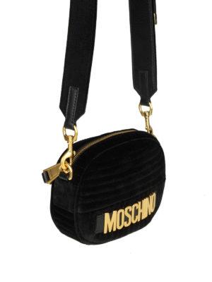 MOSCHINO: borse a tracolla online - Borsetta ovale signature in velluto nero