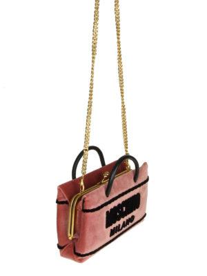 MOSCHINO: borse a tracolla online - Borsa a mano signature in velluto rosa
