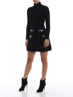 MOSCHINO: abiti corti online - Abito due pezzi con dolcevita ed ecopelliccia