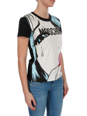MOSCHINO: t-shirt online - T-shirt multicolor con stampa Moschinoeyes