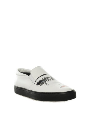 MOSCHINO: sneakers online - Slip-on in pelle con stampa volto