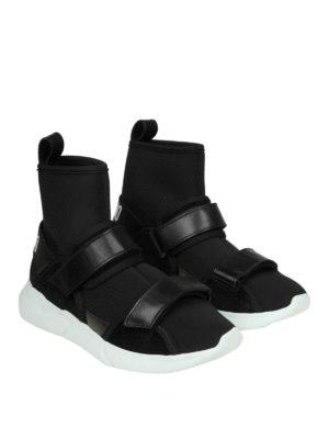 MOSCHINO: sneakers online - Sneaker in neoprene con strap in pelle