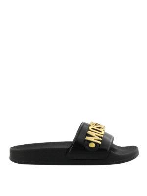 Moschino: sandals - Gold-tone logo slide sandals