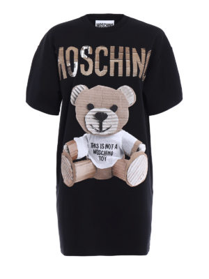 Moschino: short dresses - Bear patch cotton over dress