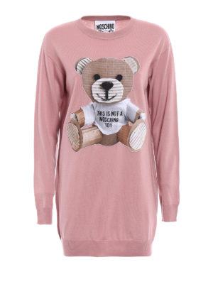 Moschino: short dresses - Bear patch knit wool dress