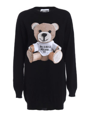 Moschino: short dresses - Bear patch knit wool dress