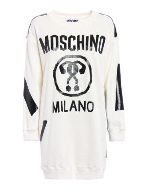 Moschino: short dresses - Hand-taped short white sweat dress