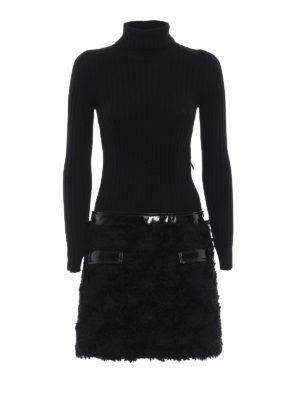 MOSCHINO: abiti corti - Abito due pezzi con dolcevita ed ecopelliccia