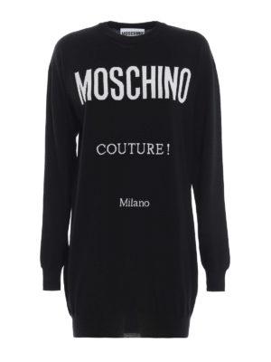 MOSCHINO: abiti corti - Mini abito in lana Moschino Couture