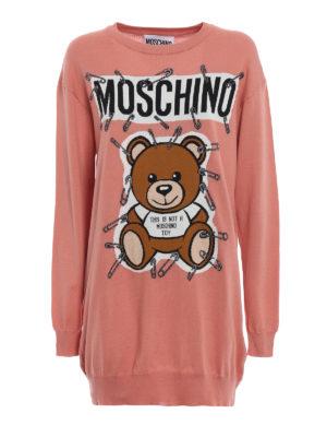 MOSCHINO: abiti corti - Abito motivo logo orso e spille