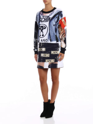 Moschino: short dresses online - All-over printed short sweat dress
