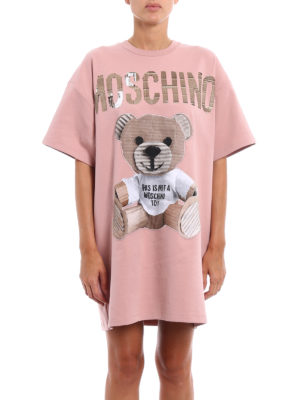 Moschino: short dresses online - Bear patch cotton over dress