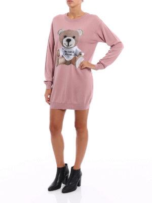 Moschino: short dresses online - Bear patch knit wool dress