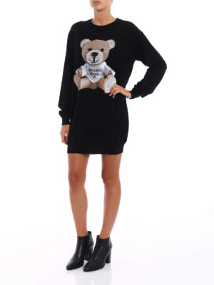 Moschino: short dresses online - Bear patch knit wool dress