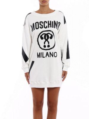 Moschino: short dresses online - Hand-taped short white sweat dress