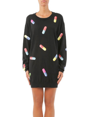 Moschino: short dresses online - Knitted wool printed mini dress