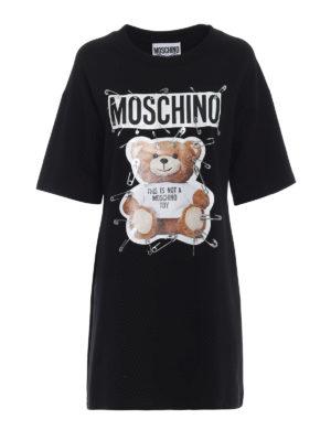 MOSCHINO: abiti corti - Abito stile felpa con logo