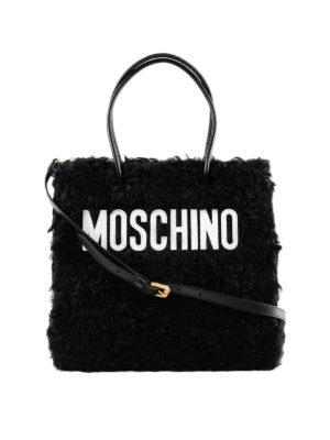 MOSCHINO: borse a spalla - Borsa a spalla eco pelliccia e logo lettering