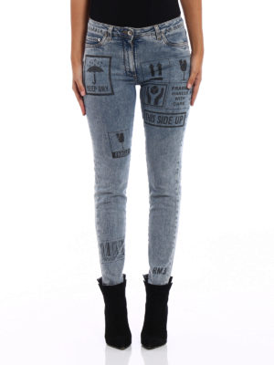 Moschino: skinny jeans online - Printed denim slim jeans