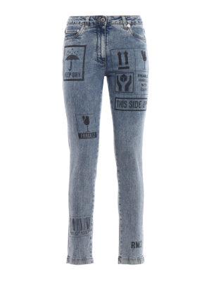 Moschino: skinny jeans - Printed denim slim jeans