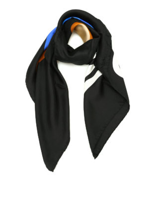 Moschino: Stoles & Shawls - Transformers print black silk shawl