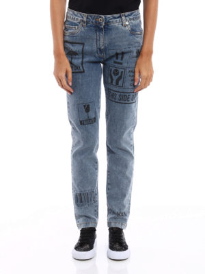 Moschino: straight leg jeans online - Printed faded jeans