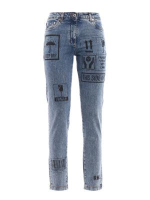 Moschino: straight leg jeans - Printed faded jeans