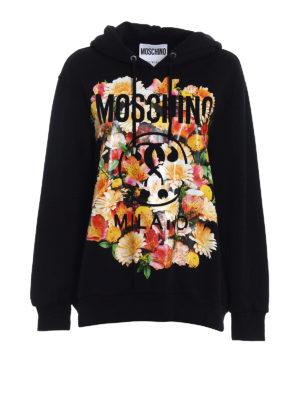 Moschino: Sweatshirts & Sweaters - Flower detail logo oversized hoodie