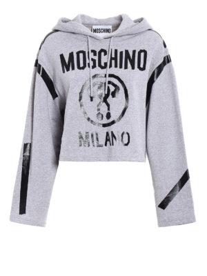 Moschino: Sweatshirts & Sweaters - Logo printed crop hoodie