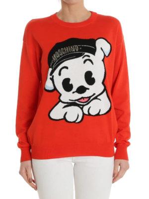 Moschino: Sweatshirts & Sweaters online - Dog and logo cotton sweatshirt