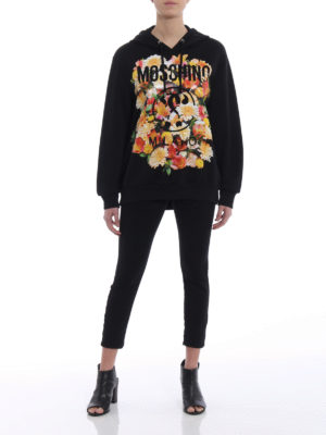 Moschino: Sweatshirts & Sweaters online - Flower detail logo oversized hoodie