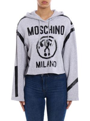 Moschino: Sweatshirts & Sweaters online - Logo printed crop hoodie