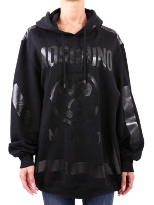 Moschino: Sweatshirts & Sweaters online - Tonal logo oversize cotton hoodie