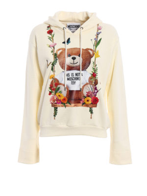 Moschino: Sweatshirts & Sweaters - Rubberized flower print hoodie