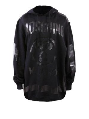 Moschino: Sweatshirts & Sweaters - Tonal logo oversize cotton hoodie