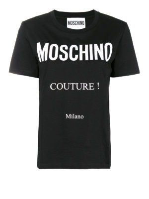 MOSCHINO: t-shirt - T-shirt in cotone con stampa logo a contrasto