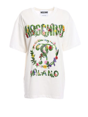 Moschino: t-shirts - Flower detailed logo oversized Tee