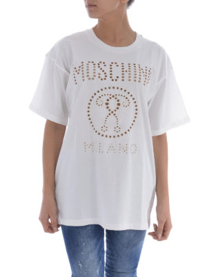 Moschino: t-shirts online - Drilled embroidered logo maxi Tee