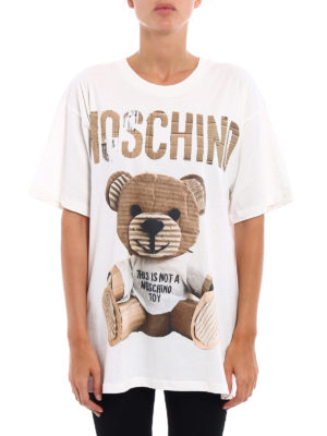 Moschino: t-shirts online - Logo and bear print over T-shirt