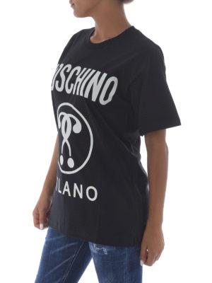 Moschino: t-shirts online - Logo print cotton oversized Tee