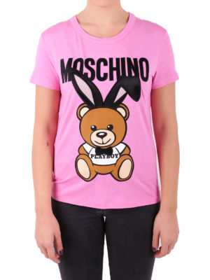 Moschino: t-shirts online - Playboy Bear print viscose T-shirt